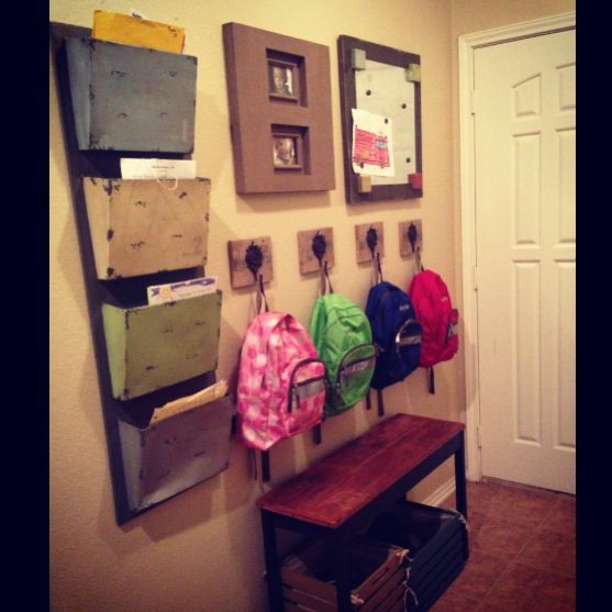 School wall for kids shoes backpacks papers magnet Ideas for hanging backpacks