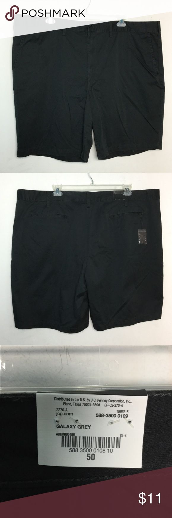 """Claiborne 50 Golf Shorts Khakis Chinos Black NWT NWT new with tags retail price $50 Black ( Galaxy Grey ) very Dark Gray almost Black Flat Front Casual  Men's big & tall size 50 Claiborne Golf Classic fit shorts 10"""" Inseam  100% Cotton 5 Pocket  1 bin 35 UPC: 5883500010810 Buy 3 or more items get free shipping. Must message me first so I can set up your bundle. $$$$$$ Don't forget you can always bundle other items and pay one shipping price Claiborne Shorts"""