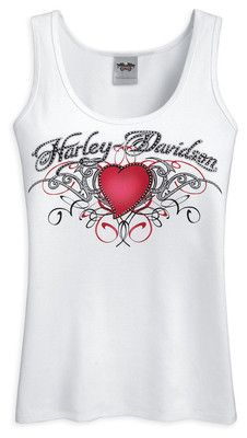 WOMENS HARLEY-DAVIDSON HEART & SCROLL TANK TOP SIZE LARGE 96350-12VW