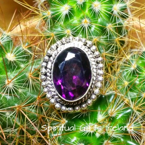 Amethyst Ring Visit our store at www.spiritualgiftsireland.com  Follow Spiritual Gifts Ireland on www.facebook.com/spiritualgiftsireland www.instagram.com/spiritualgiftsireland www.etsy.com/shop/spiritualgiftireland	 We are also featured on Tumblr  It's the colour of royalty, passion, priestly robes and this gorgeous chunky Handmade 925 Silver Ring.  Purple creates a sense of calm and contentment.  Amethyst is a popular favourite for those embarking on spiritual paths, seeking greater…