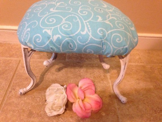 Foot Stool Shabby Chic Chair Shabby Chic Decor by LaBellasCottage