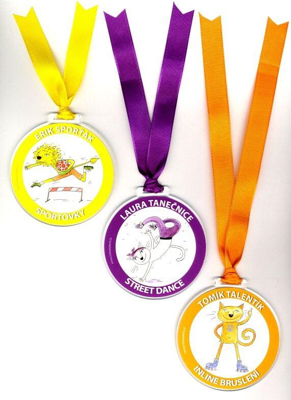 medaile pro největší šikulky z řad Inlinetalent - Inline bruslení - kocour Tomík Street dance- tanečnice Laura Sportovky - Erik sporťák