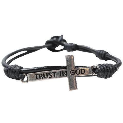 Guy's Bracelet - Trust In God Cross