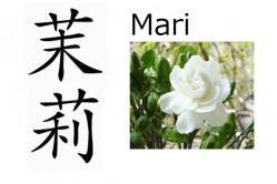Mari (jazmín) Significado: Jazmín Lecturas: Mari, Matsuri Nombre de: Chica