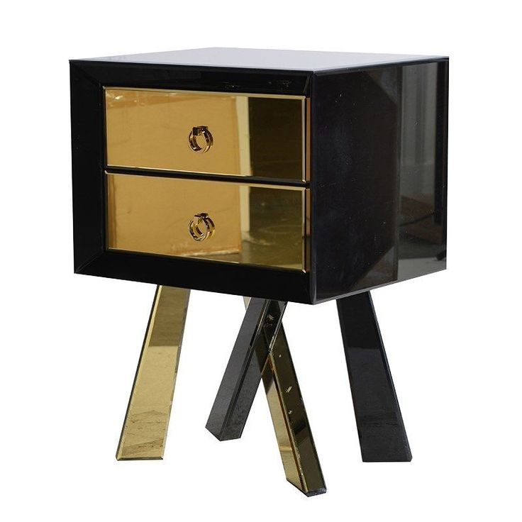 Art Deco Designed Black and Gold Venetian Bedside