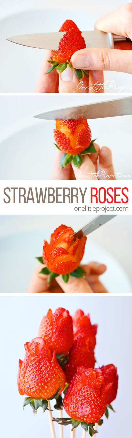 These strawberry roses are SO PRETTY and they're so easy to make! All you need is a small knife and some strawberries! Wouldn't they be great for Valentine's Day or Mother's Day!?