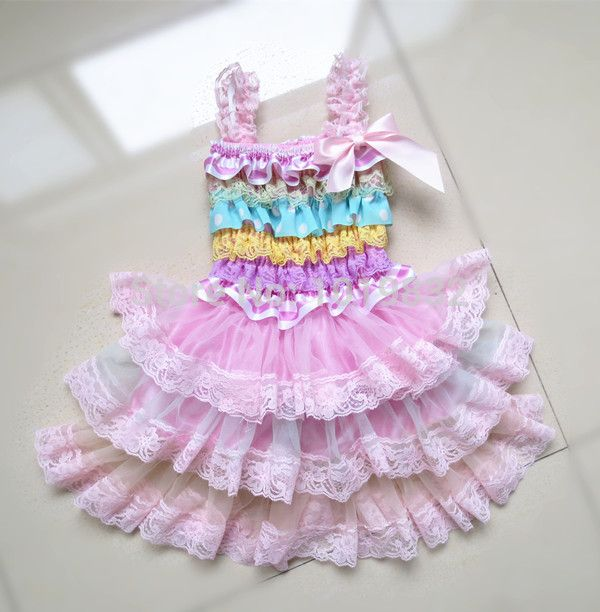 Girls Pink Floral or Multi Color Spring Dress with Ruffles
