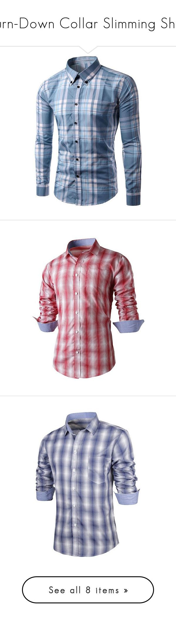 """""""Turn-Down Collar Slimming Shirt"""" by rosegal-official ❤ liked on Polyvore featuring plaid, shirt, men, rosegal, men's fashion, men's clothing, men's shirts, men's casual shirts, mens slim fit shirts and mens long sleeve collared shirts"""