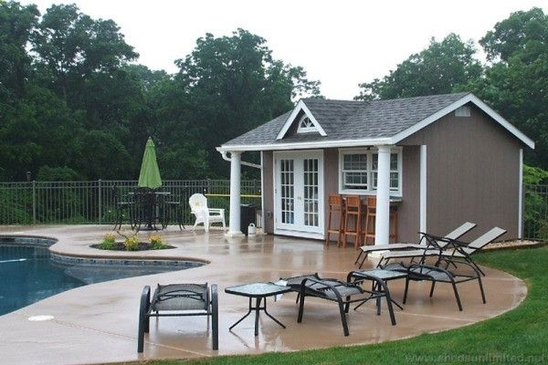 Prefab Swimming Pool House Designs and Potting Shed Ideas from the Amish in PA. Buy a Poolhouse or Potting Shed Direct from the Amish Builders in PA