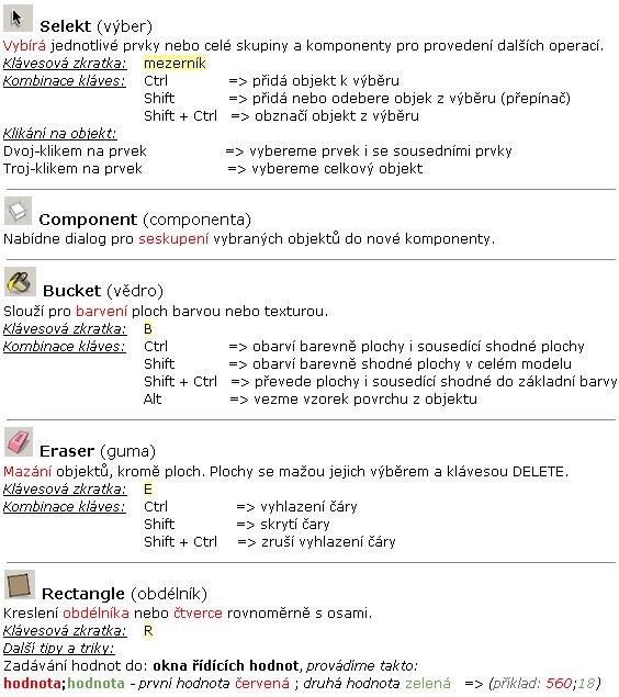 Základní nástroje používané ve SketchUp-u. | Radek Rýznar