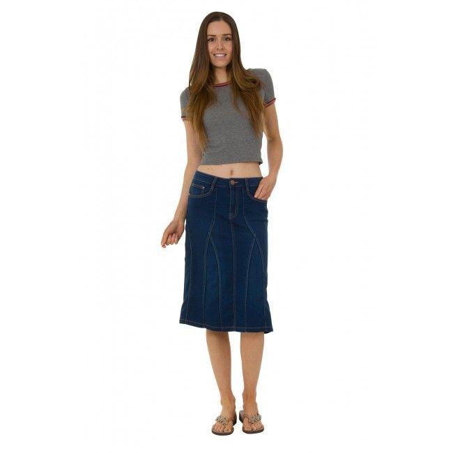 USKEES KIM Stretch Denim Flared Skirt - Indigo. #denimskirt