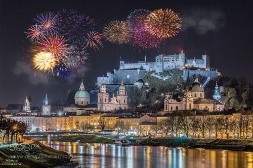 Happy New Year for 2017 from Salzburg Austria by MariaLehmann  salzburg Festung Hohensalzburg Österreich Nachtaufnahme Feuerwerk Silvester Weltkulturerbe MariaLehm