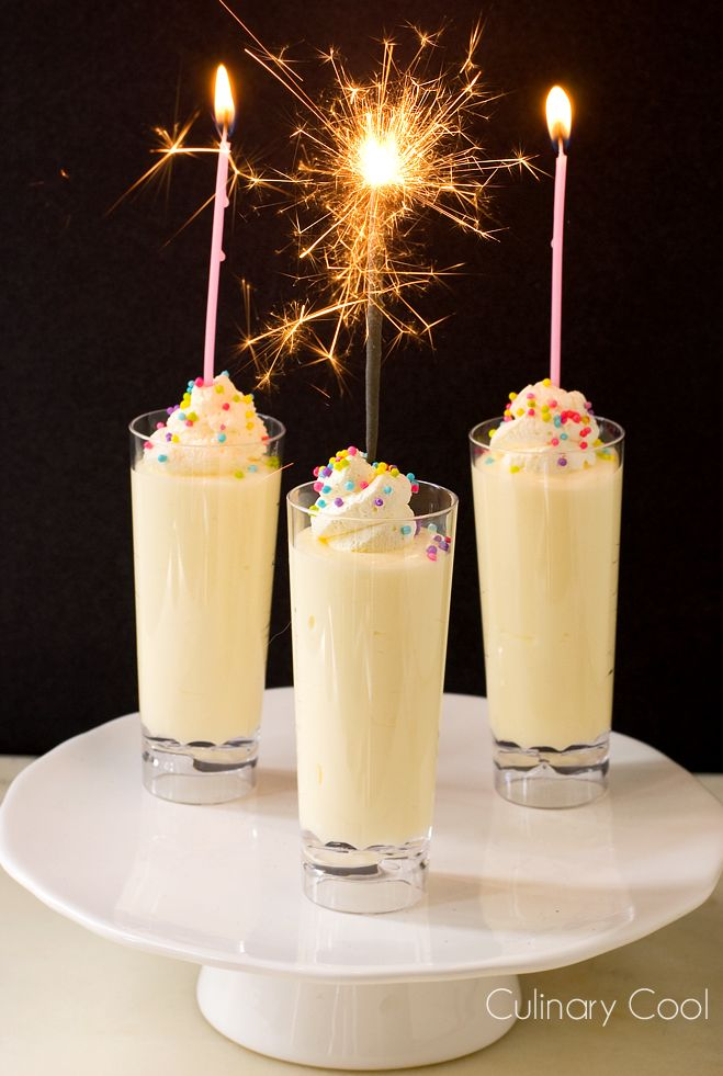 Birthday Cake Pudding Shots for my 2 year Blogiversary  | Culinary Cool