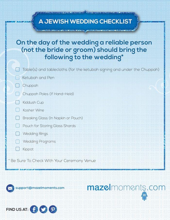 Jewish Wedding Ceremony Checklist (Jewish Weddings Guide) via mazelmoments.com