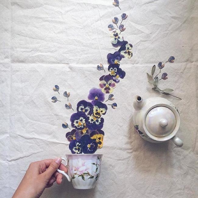 Rus Sanatçı Marina Malinovaya'dan Fincan ve Çiçeklerle Yapılmış 20 Muazzam Çalışma Sanatlı Bi Blog 17