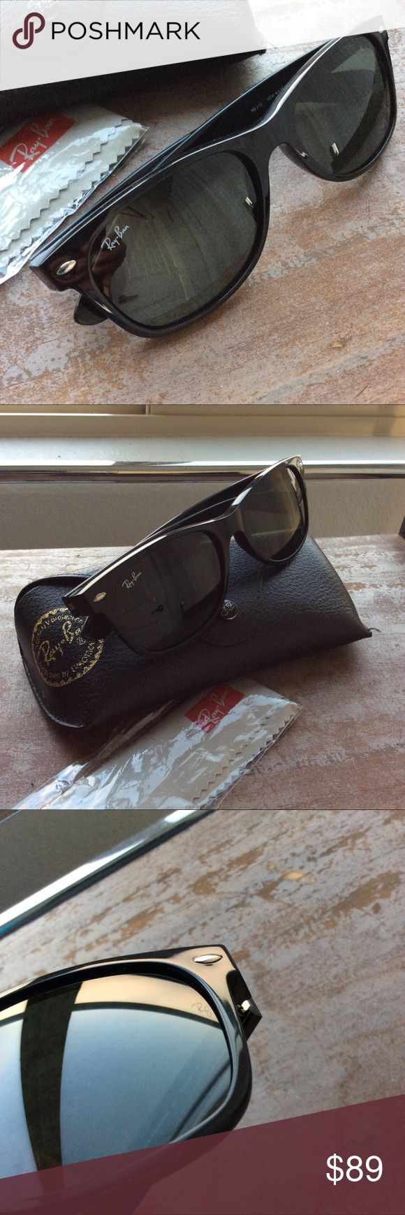 Ray-Ban Wayfarer 2132 55/18 Black New modified Wayfarer style. 55/18 on pre-loved condition. However, no scratches on lenses but some light scuffs on both armbands as shown in pictures. Comes with its case and Ray-Ban cleaning cloth. Sorry, NO TRADES.                                                    👉🏻⏱📫 SHIP SAME/NEXT DAY Ray-Ban Accessories Sunglasses