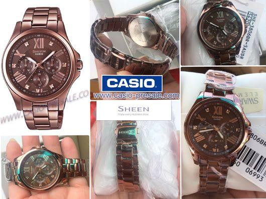 ✅นาฬิกาข้อมือ Casio Sheen Multi Hand รุ่น SHE-3806BR-5A นาฬิกาข้อมือผู้หญิงสา...