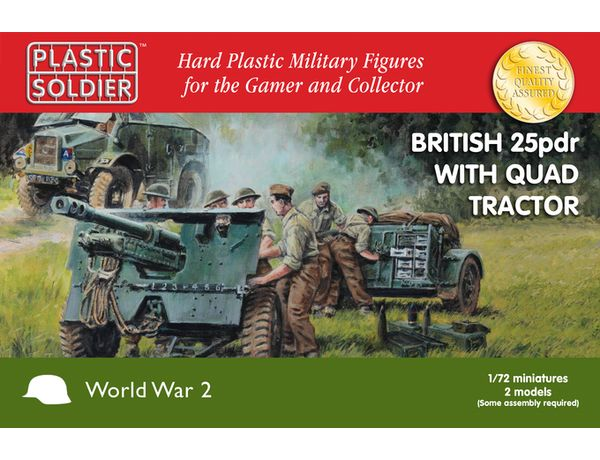 The Plastic Soldier Company 1/72 British 25pdr & Morris Quad from the plastic model kits range provides a selection of highly detailed miniatures that accurately recreate the real life British artillery and transport from World War II.
