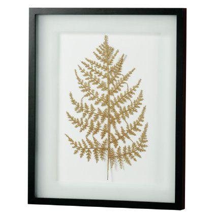 Premier Housewares Gold Shimmer Leaf with Frame Glass Front - Black - 53 x 43 cm
