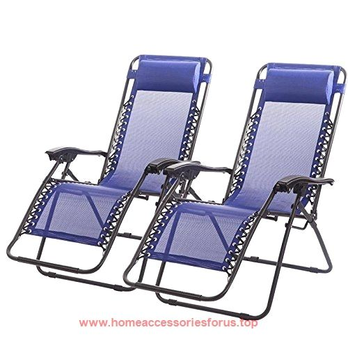 New Zero Gravity Chairs Case Of 2 Lounge Patio Chairs Outdoor Yard Beach  O62 (Blue