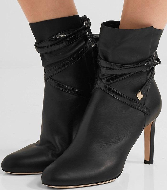 Jimmy Choo 'Dalal' Elaphe-Trimmed Leather Ankle Boots