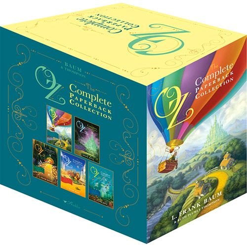 This lavishly packaged boxed set includes fifteen classic and beloved Oz tales in five paperback volumes:   Volume 1: The Wonderful Wizard of Oz, The Marvelous Land of Oz, Ozma of Oz;   Volume 2: Dorothy and the Wizard in Oz, The Road to Oz, The Emerald City of Oz;   Volume 3: The Patchwork Girl of Oz, Tik-Tok of Oz, The Scarecrow of Oz;   Volume 4: Rinkitink in Oz, The Lost Princess of Oz, The Tin Woodman of Oz;   Volume 5: The Magic of Oz, Glinda of Oz, The Royal Book of Oz;