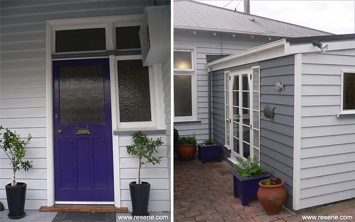 Front door is painted in Resene Violent Violet