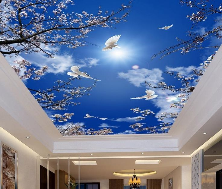 14.22$  Watch here - http://aliobr.shopchina.info/1/go.php?t=32742071791 - custom 3d ceiling murals Cherry blue sky pigeons 3d ceiling wall paper 3d mural wallpaper for bathroom kitchen ceiling  #magazine