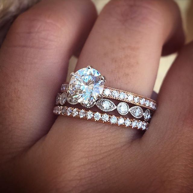 Stacked Wedding Rings In Rose Gold And Platinum Arthursjewelers Wedding Rings Rose Gold Wedding Rings Engagement Rings Bridal Sets