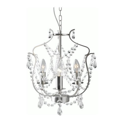KRISTALLER Chandelier--$40 at IKEA. I know you're not into fussy, and I might be able to find something vintage in the same price range, but if we're going to do a romantic bedroom and are allowed to change out the current fixture, I think this would really pull things together.