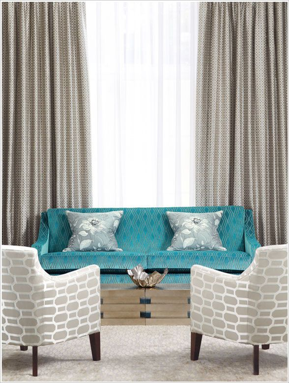 Neutral Palette with Peacock Blue | Turquoise Sofa | Interior Design Pantone Colors