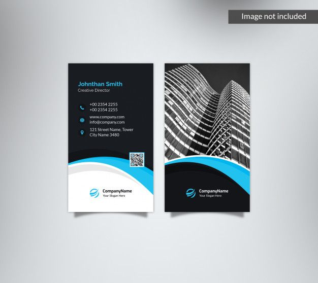 Vertical Dark Blue Business Card With Image With Images Blue
