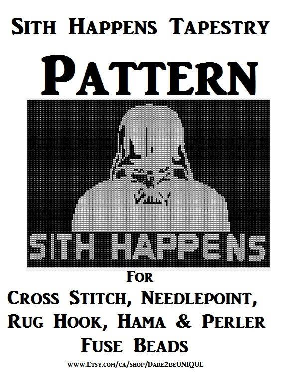 Sith Happens Tapestry PATTERN, Star Wars Cross Stitch, Needlepoint Embroidery Rug Hook Designs, Perler Patterns, Hama Crafts, Download PDF by Dare2beUNIQUE on Etsy