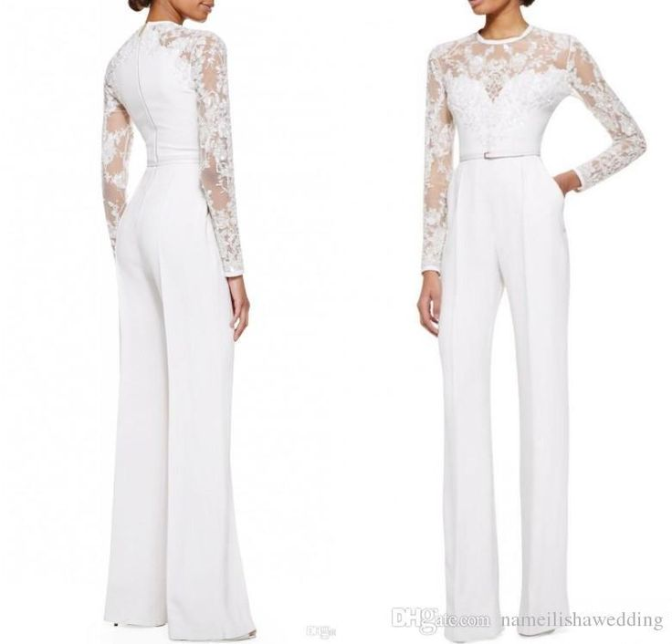 Modest White Elie Saab Lace Long Sleeves Jumpsuit Pant Suits Jumpsuit Embellished Women Formal Evening Wear Custom Special Occasion Dresses