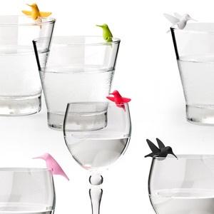Hummingbird Glass Tags