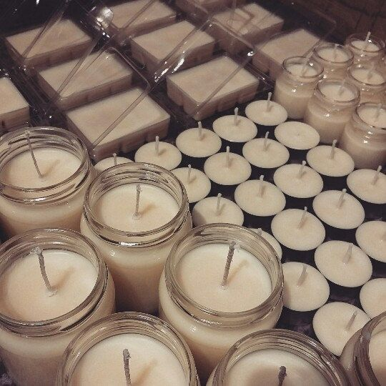 Production day at Pots about Candles. In this photo - Highly scented, luxury, handmade Chocolate Orange candles, tea - lights, Tot Pots and wax melts.