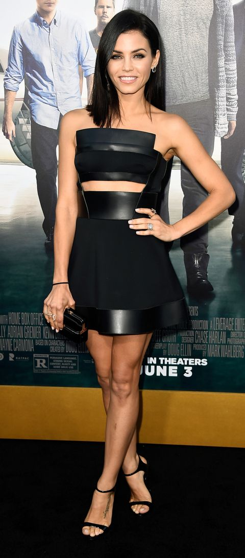 In Los Angeles, Jenna Dewan-Tatum smoldered at the premiere of Entourage in an ab-baring David Koma LBD with leather panels that stretched across the neck-line and hem.
