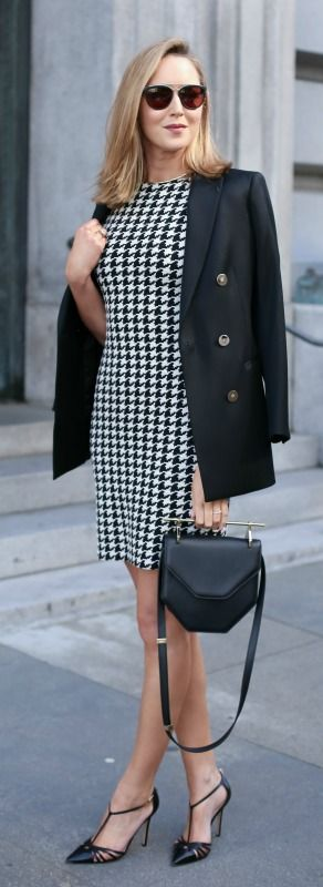 houndstooth sheath dress, black double-breasted blazer, black pointed toe heels, black modern handbag + sunglasses {reiss, sjp collection, m2malletier}