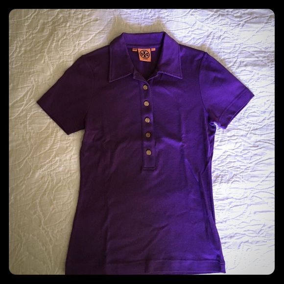 Tory Burch Purple Polo Shirt Purple polo in perfect condition. Barely been warn. Perfect to wear for golf, tennis, or any summer activity! Tory Burch Tops Button Down Shirts