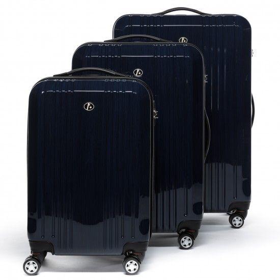 FERGÉ Dreier Kofferset CANNES - ABS & PC Trolley-Koffer dunkelblau-metallic Reisegepäck Koffersets