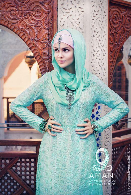 Купить Платье Фес - мятный, орнамент, мусульманская одежда, мусульманские платья, никах, штапель и кружево