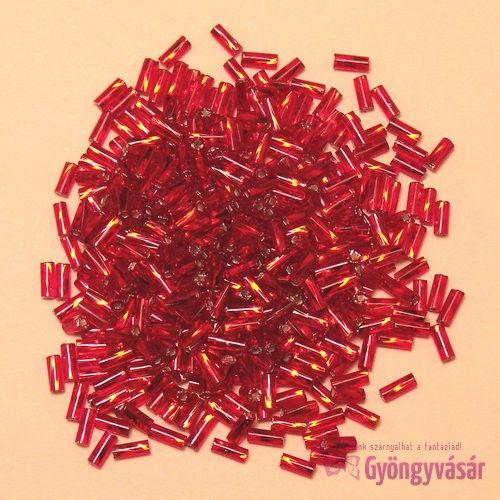 Piros, 4,6 mm-es csavart cseh szalmagyöngy (10 g)