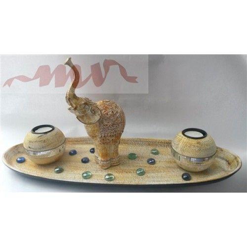 Tava decor cu figurina elefant si suport pentru lumanari