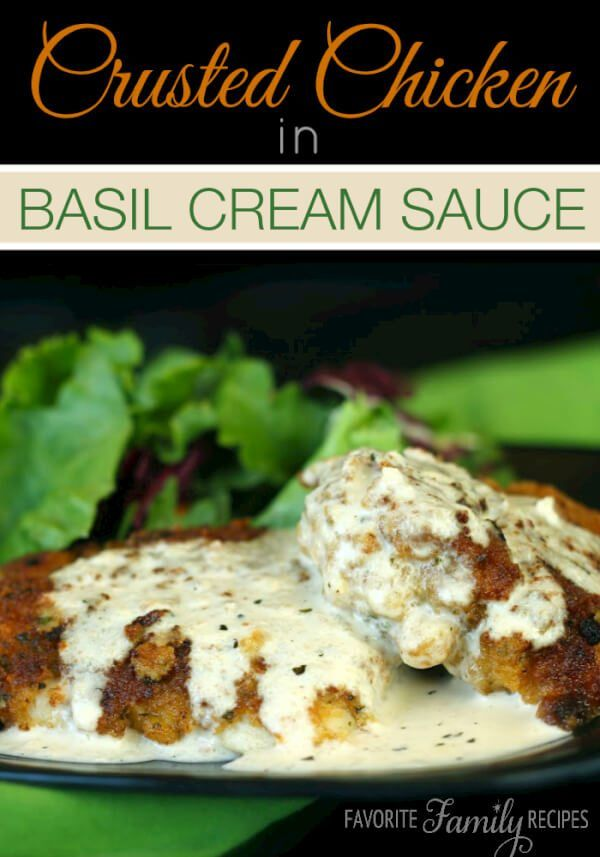 Chicken in Basil Cream Sauce is a crusted, pan-fried chicken breast covered with a creamy, flavorful sauce. It is one of our favorite ways to prepare chicken.