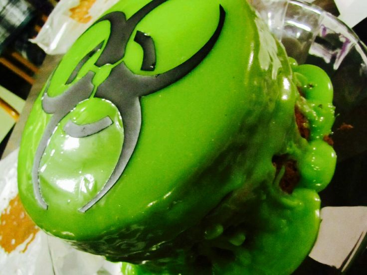 Top View Of The Toxic Waste Cake Bio Hazard Symbol And
