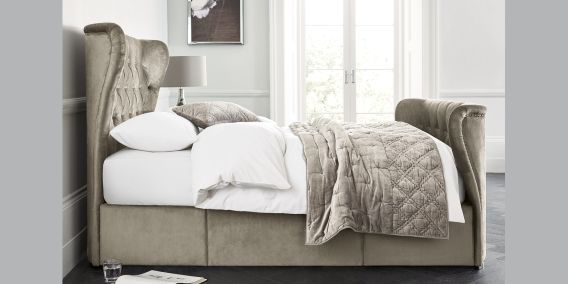 Buy Elise with Footend King Bed Classic Velvet French Grey from the Next UK online shop