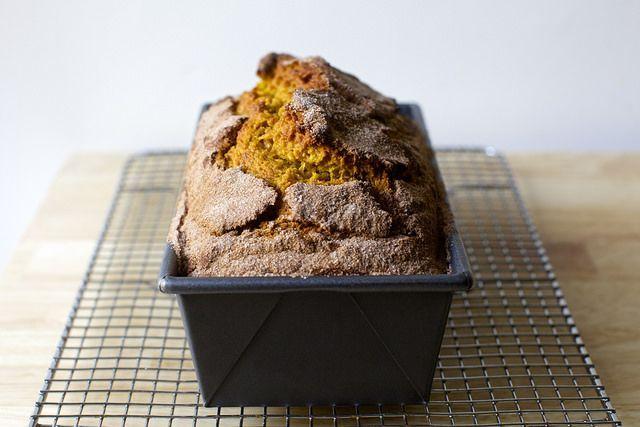 pumpkin bread by smitten kitchen.  This. Is. Awesome.  The pan size is a six-cup 8.5x4.  It took 80 min in my oven.