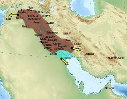 Akkadian Empire (2334-2193 BCE) - Wikipedia, the free encyclopedia; (pin image: Map of the Akkadian Empire and the directions in which military campaigns were conducted, yellow arrows)