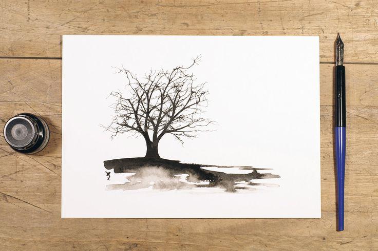 Miniature ink tree by InkingArt.deviantart.com on @DeviantArt