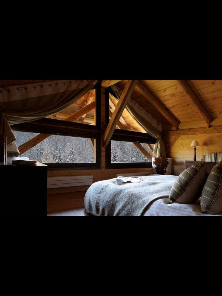 Love This Cozy Attic Bedroom The View Of The Snow Covered